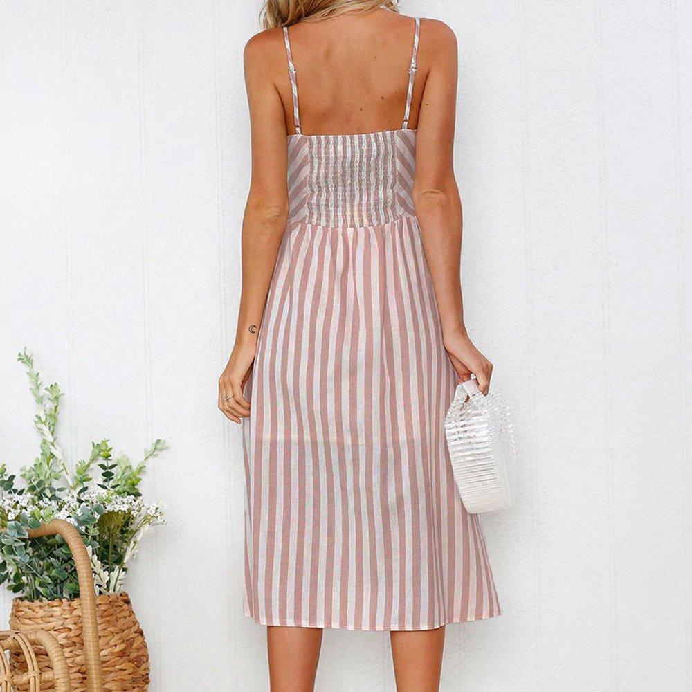 KYLEON Maxi Womens Dresses Summer Floral Bohemian Spaghetti Strap Button Down Swing Midi Dress with Pockets