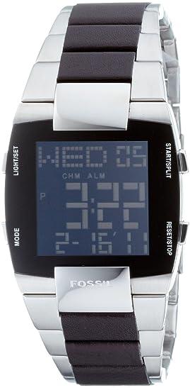 Fossil JR9455 - Reloj digital de cuarzo para hombre con correa de acero inoxidable, color plateado: Amazon.es: Relojes
