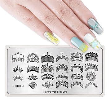 NICOLE DIARY 1 Stück Rechteck Nail art Stamping Platte Natur World ...