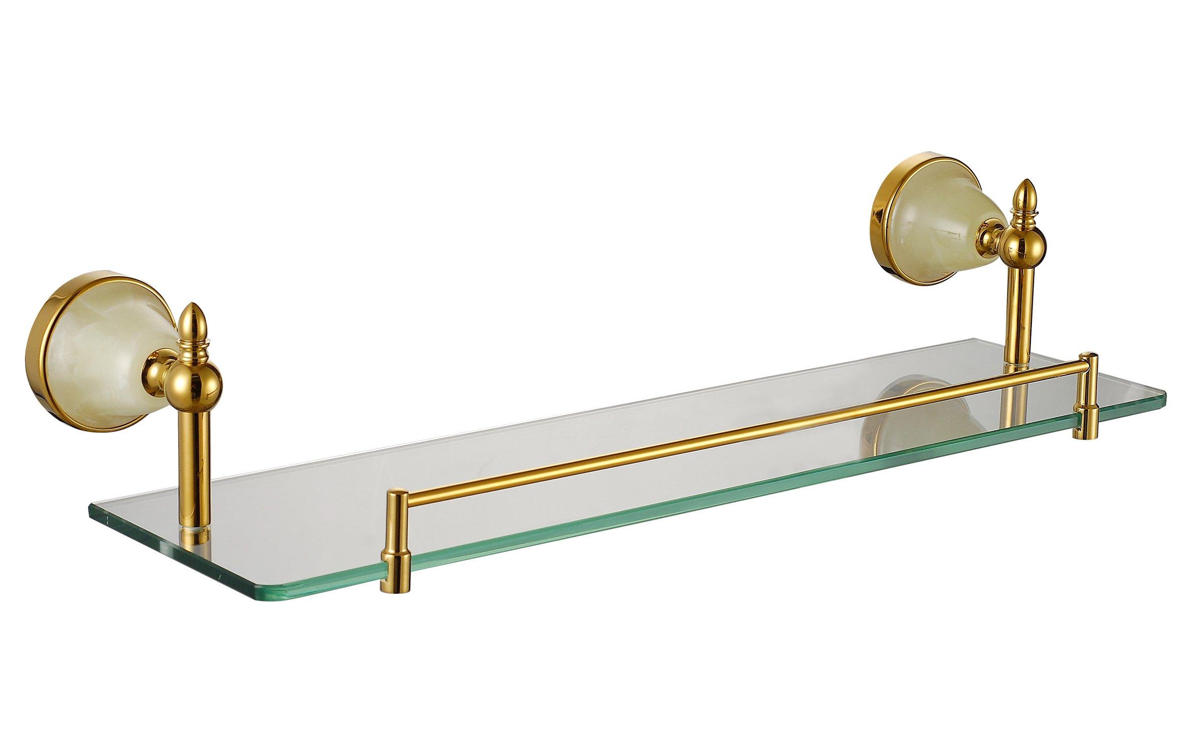 Cloud Power Bathroom Brass Single Glass Shelves Single Glass Shelves Titanium Wall-mounted Single Glass Shelves With Jade Decorated