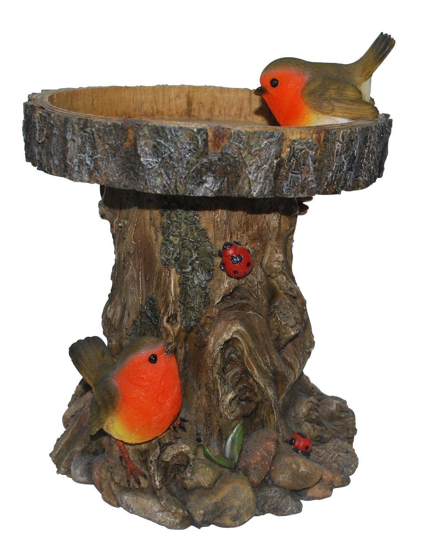 Tree Trunk Bird Feeder with Robins by Vivid Arts