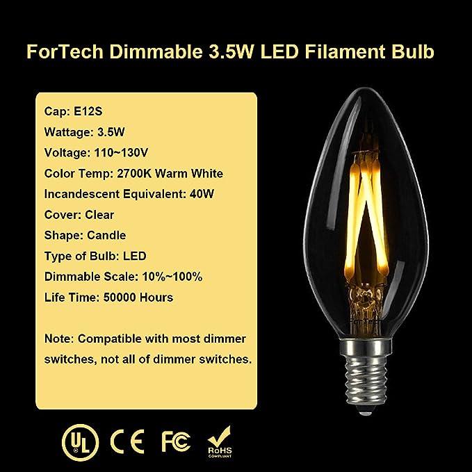 ForTech 6 Pack B10 3,5 W LED Candelabra Bombilla 40 W equivalente, E12 candelabro Base, 2700 K filamento Bombilla regulable filamento vela bombilla E12 LED ...