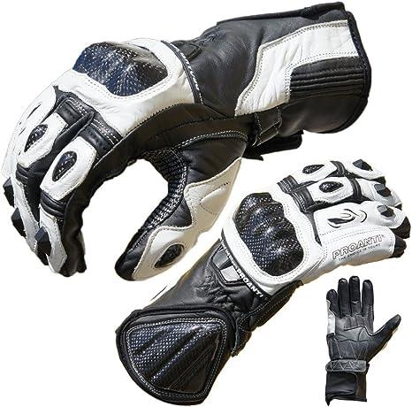 Colore : Bianca, Dimensioni : XXL TRDyj Guanti Classic Racing Guanti Moto Leather Riding Guanti Guanti in Pelle