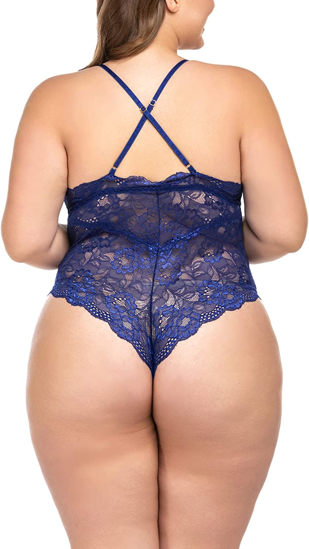 ELOVER Lingerie for Women Plus Size Lace Teddy Lingerie Bodysuit One Piece Babydoll