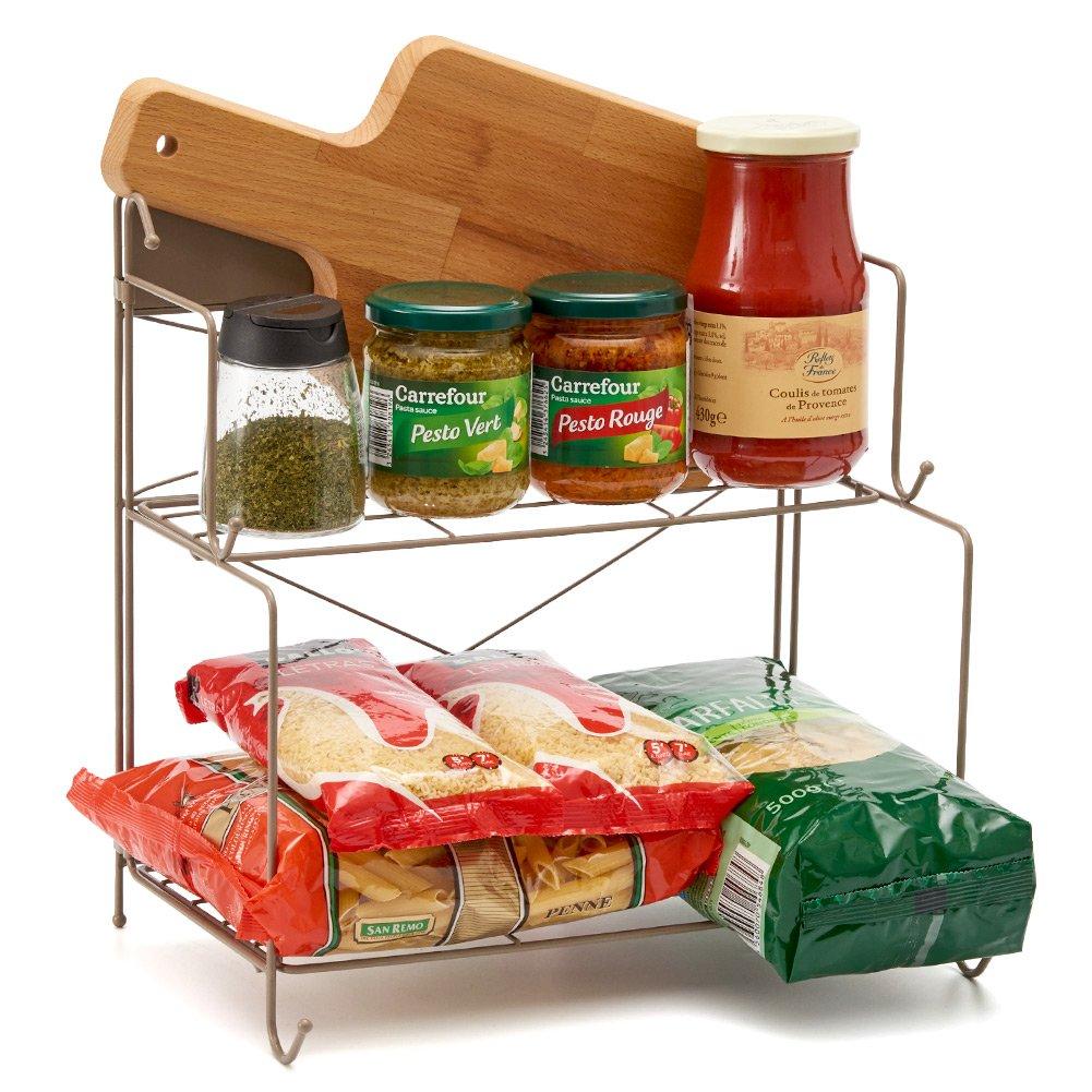 EZOWare 2 Niveles Estante Plegable, Estante Especiero de Pie Libre, Organizador Multiuso para Cocina, Bano, Encimera, Especias/Hierbas, Condimentos, ...