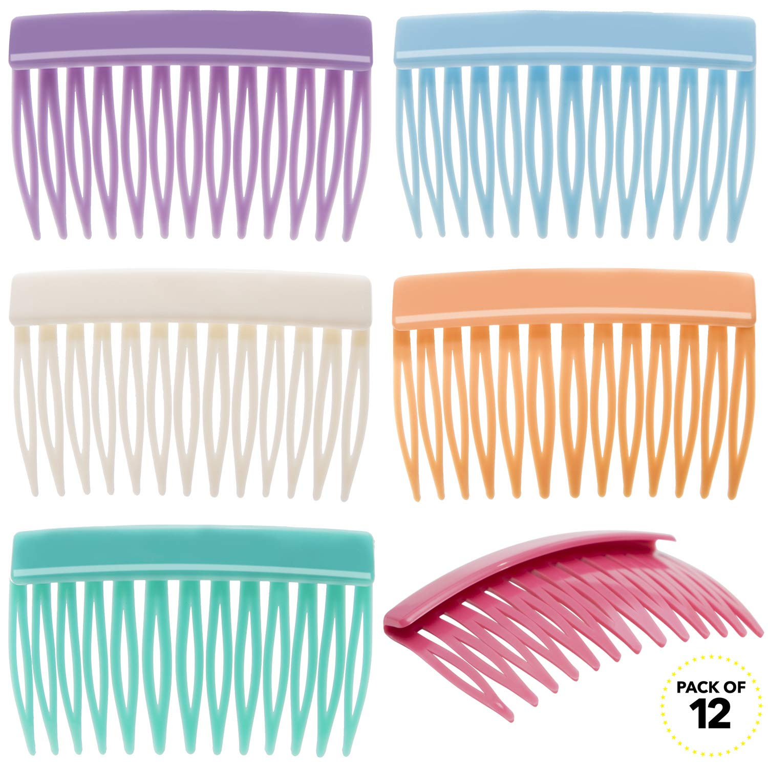 RC ROCHE ORNAMENT 12 Pcs Womens Girls Classic Side Slide Comb Premium Hair Accessory Pin Wide Teeth Solid Plastic Combs Bridal Pins Beauty Fashion Accessories, Medium Pastel Multicolor : Beauty