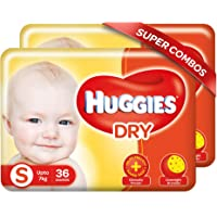 Huggies New Dry, Taped Diapers, Small Size Combo Pack of 2, 36 Counts Per Pack, 72 Counts
