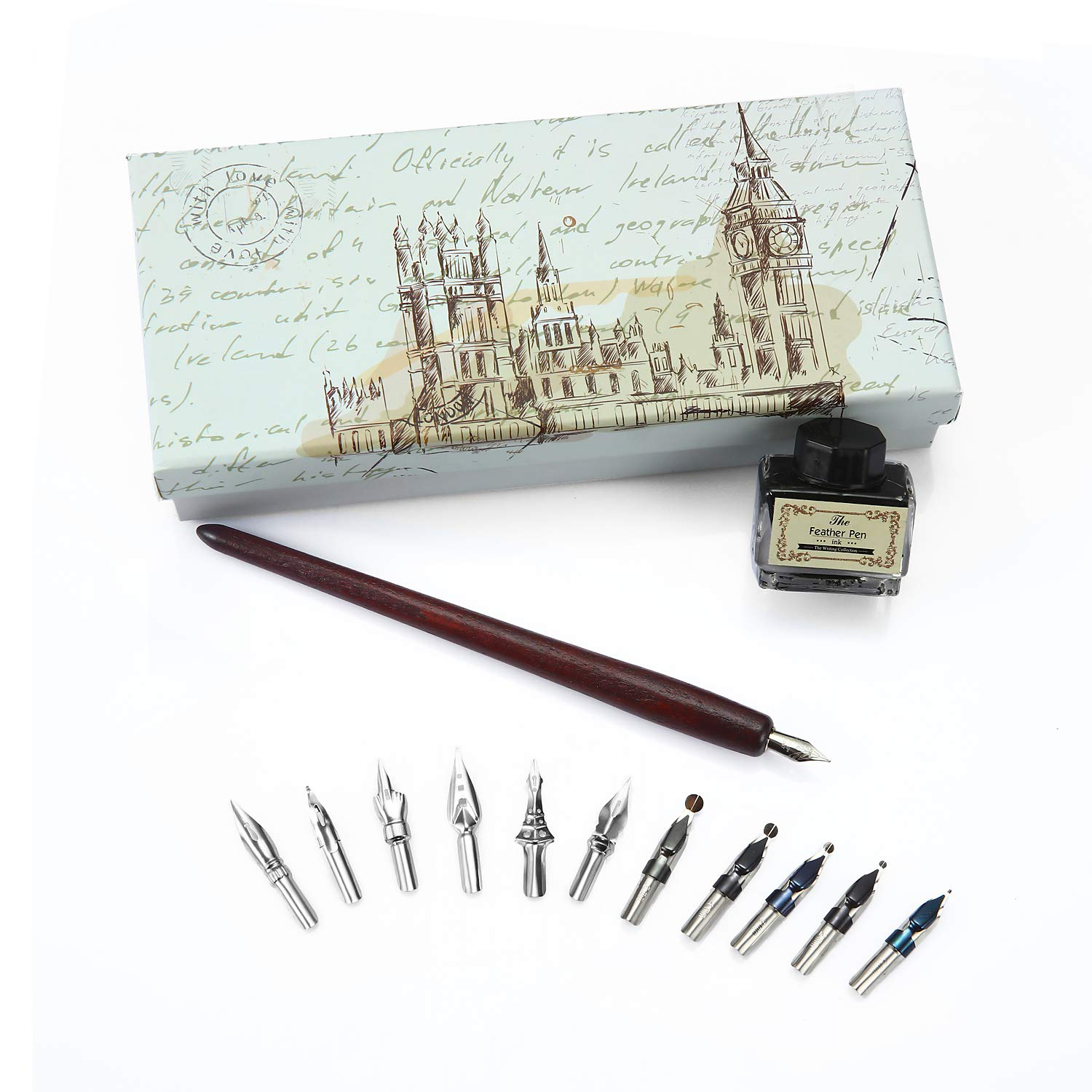 Calligraphy Pen Set Natural Handcrafted Wooden Writing Quill Pen Set with 11pcs Metal Pen Nibs and Black Ink