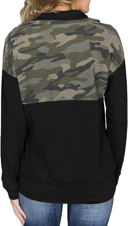 Malaven Womens Quarter Zip Sweatshirts Long Sleeve Pullover Sweatshirts with Pockets