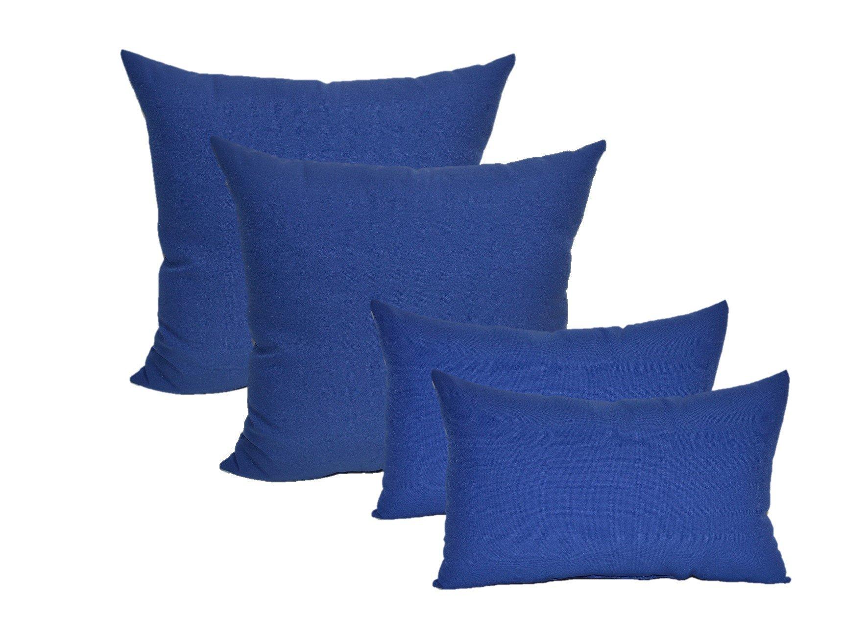 Set of 4 Indoor / Outdoor Pillows - 17'' Square Throw Pillows & 11'' x 19'' Rectangle / Lumbar Decorative Throw Pillows - Solid Royal / Admiral Blue Fabric