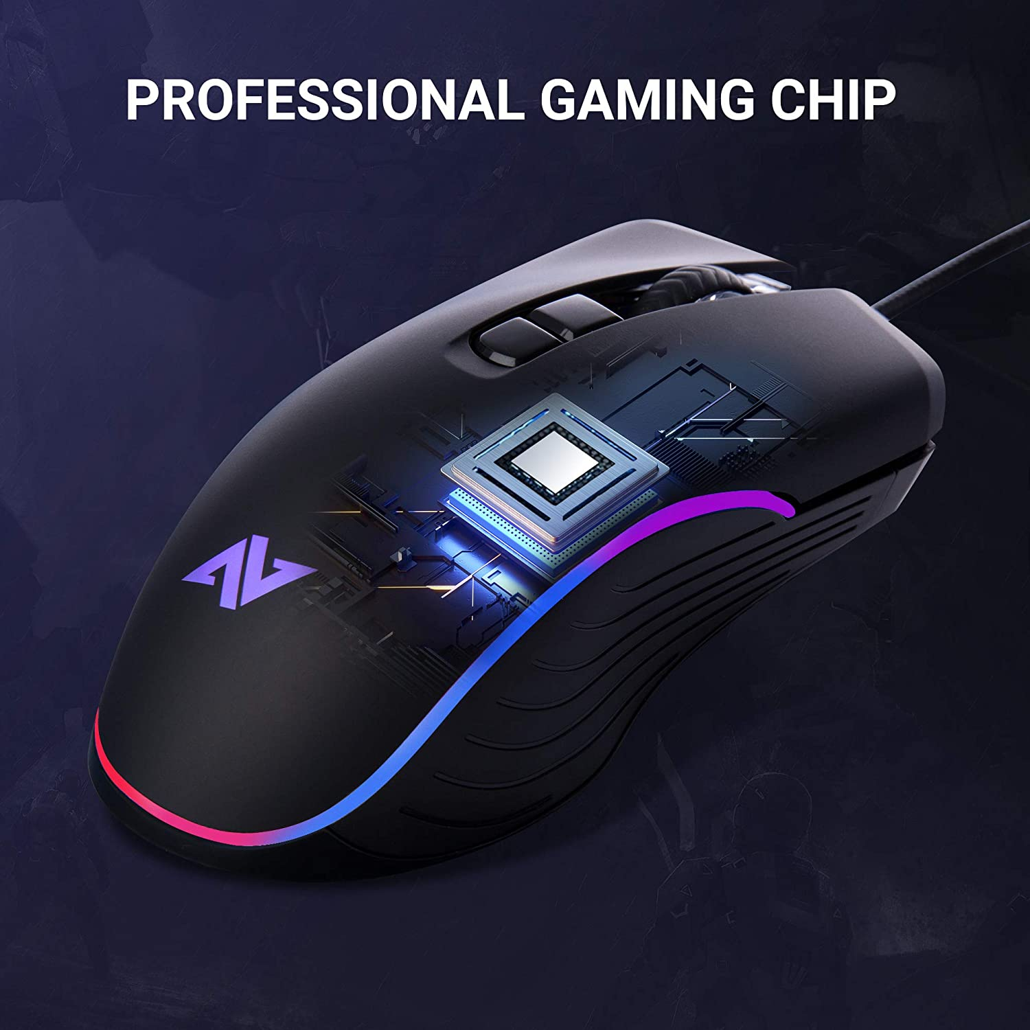 ABKONCORE AM6 Gaming Mouse with 4Dpi Levels (800, 1600, 2400, 3200), Programmable Buttons, Wired Ergonomic USB Computer Mouse for Gamer, Laptop, Chromebook, Mac (AM6): Electronics
