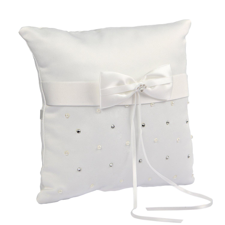 Somnr® Elegant Scattered Seed Pearl Rhinestone Ring Bearer Pillow for Wedding Party Prom (White)