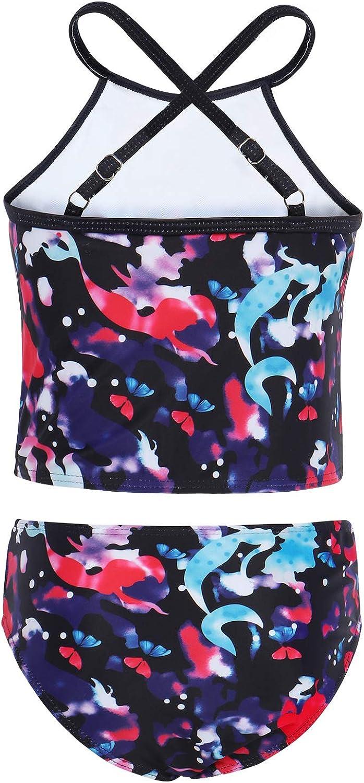 AmzBarley Girls Unicorn Swimwear Rainbow Pattern 2 Pieces Tankini Sets Strappy Bathing Suit Swimsuit Beachwear Bikinis Set