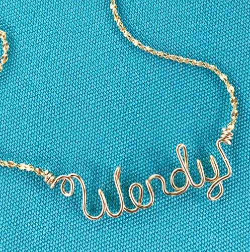 Wire Heart Gold (Personalized Jewelry~Gold Wire Name Necklace or Anklet~Charm w/Swarovski Birthstone~Heart, Cross, Star, Flower or Peace Sign~Any Name~Handcrafted Name Jewelry)