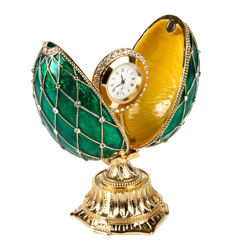 OrlovNY Swarovski Crystals Faberge Egg: Imperial Netting and Clock Egg with Rhinestones in Green by OrlovNY (Image #5)