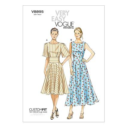 Vogue V8895 - Patrones de costura para vestidos de mujer (2 diseños)