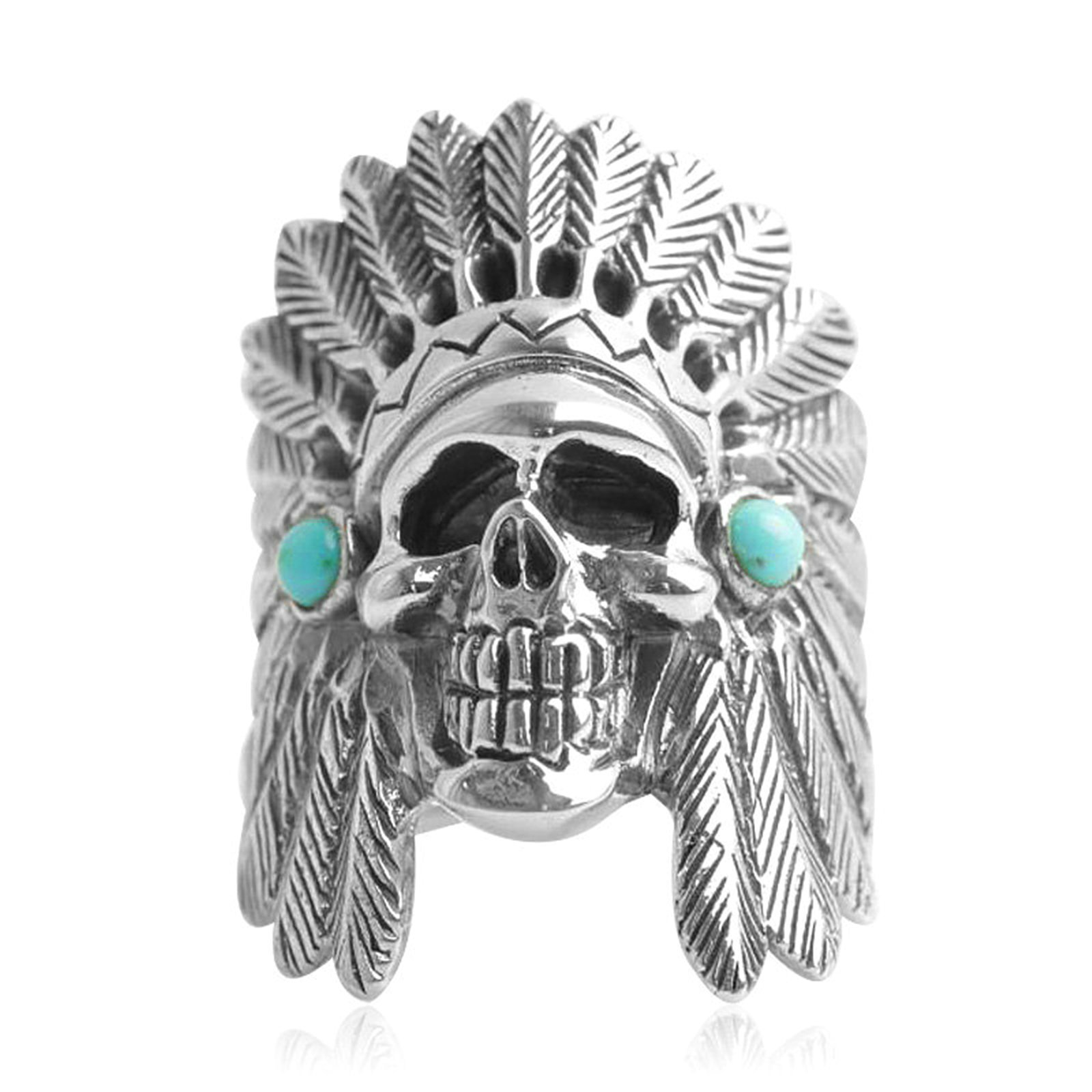 Adisaer Biker Rings Silver Ring for Men Indian Tribal Chief Skull Ring Size 8 Vintage Punk Jewelry