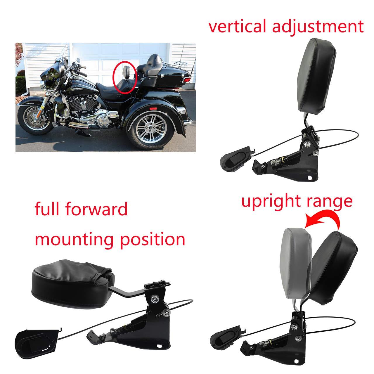 Adjustable Driver Backrest with Mount for Harley Touring Road King Electra Glide CVO 2009-2018