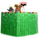 Fringe Table Skirt Hawaiian Tropical Table Cover Skirts for BBQ Garden Beach Summer Party Wedding Decorations 10929.5//276CM75CM Gold