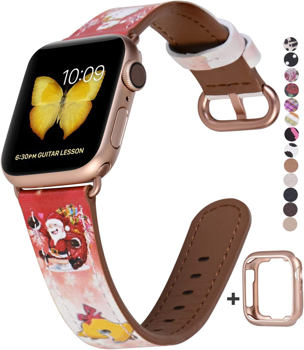 JSGJMY Compatible with Apple Watch Band 38mm 40mm with Case,Women Genuine Leather with Series 5/4/3 Rose Gold Adapter and Buckle for iwatch Series 5/4/3/2/1, Red Christmas Series Pattern