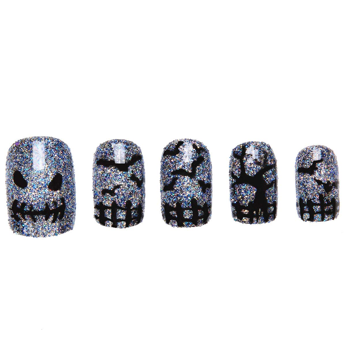 Amazon.com : 24 Pcs of 12 Different Sizes Handmade Dark Halloween Finger Fake Nail for Halloween : Beauty