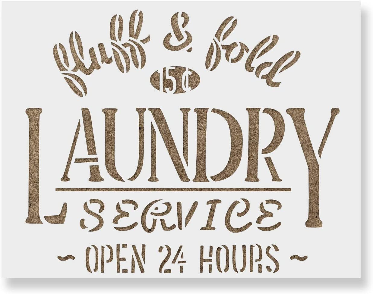 Laundry Service Stencil Template for Walls and Crafts - Reusable Stencils for Painting in Small & Large Sizes