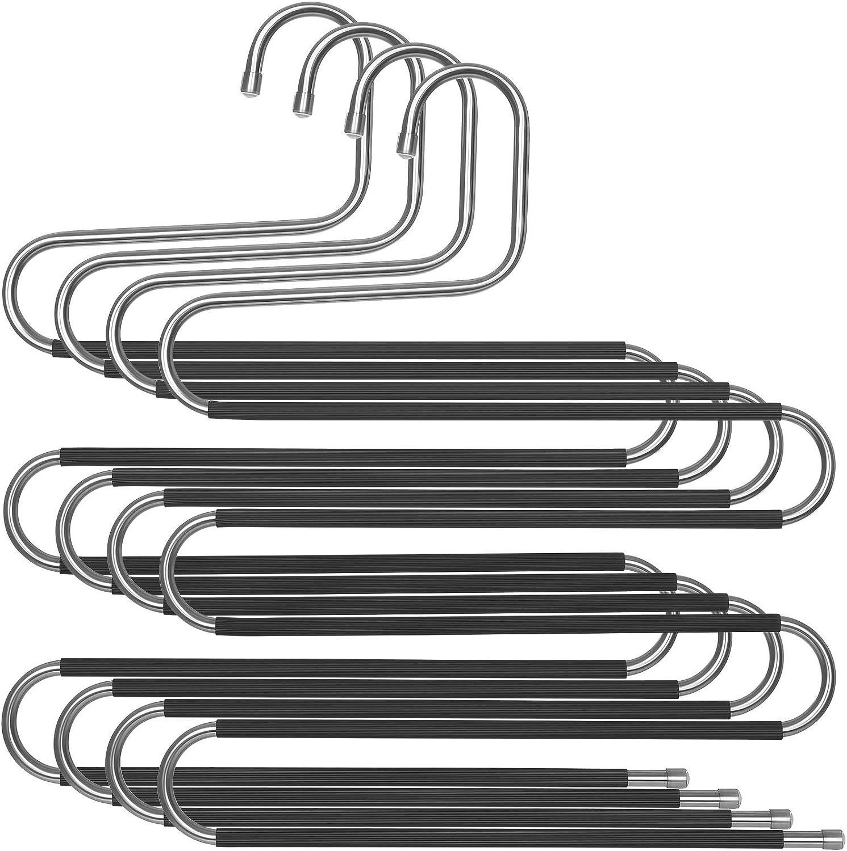 Nero CRI043BK per Jeans Sciarpe Asciugamani Cravatte SONGMICS Grucce Multiple per Pantaloni Set di 4 Grucce Salvaspazio in Metallo a 5 Strati Multiuso e Antiscivolo Appendini a S