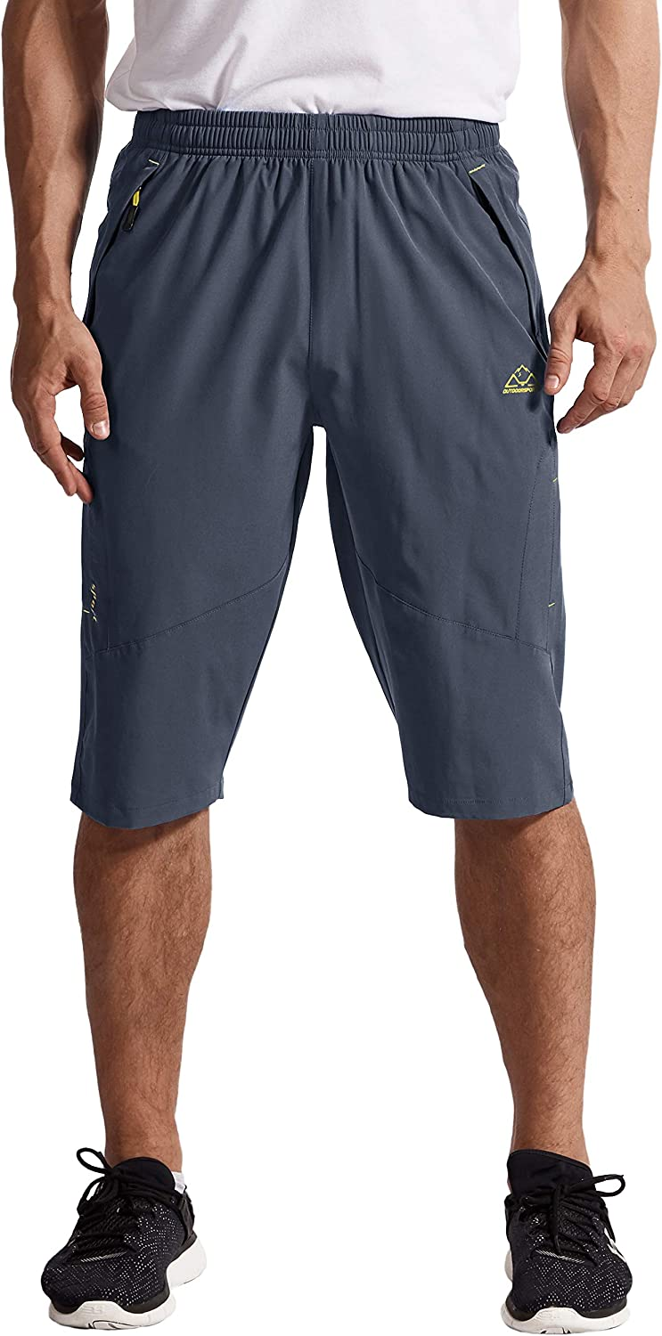 TBMPOY Mens Outdoor Hiking Cargo Shorts Quick Dry Lightweight 3//4 Capri Pants Zipper Pockets