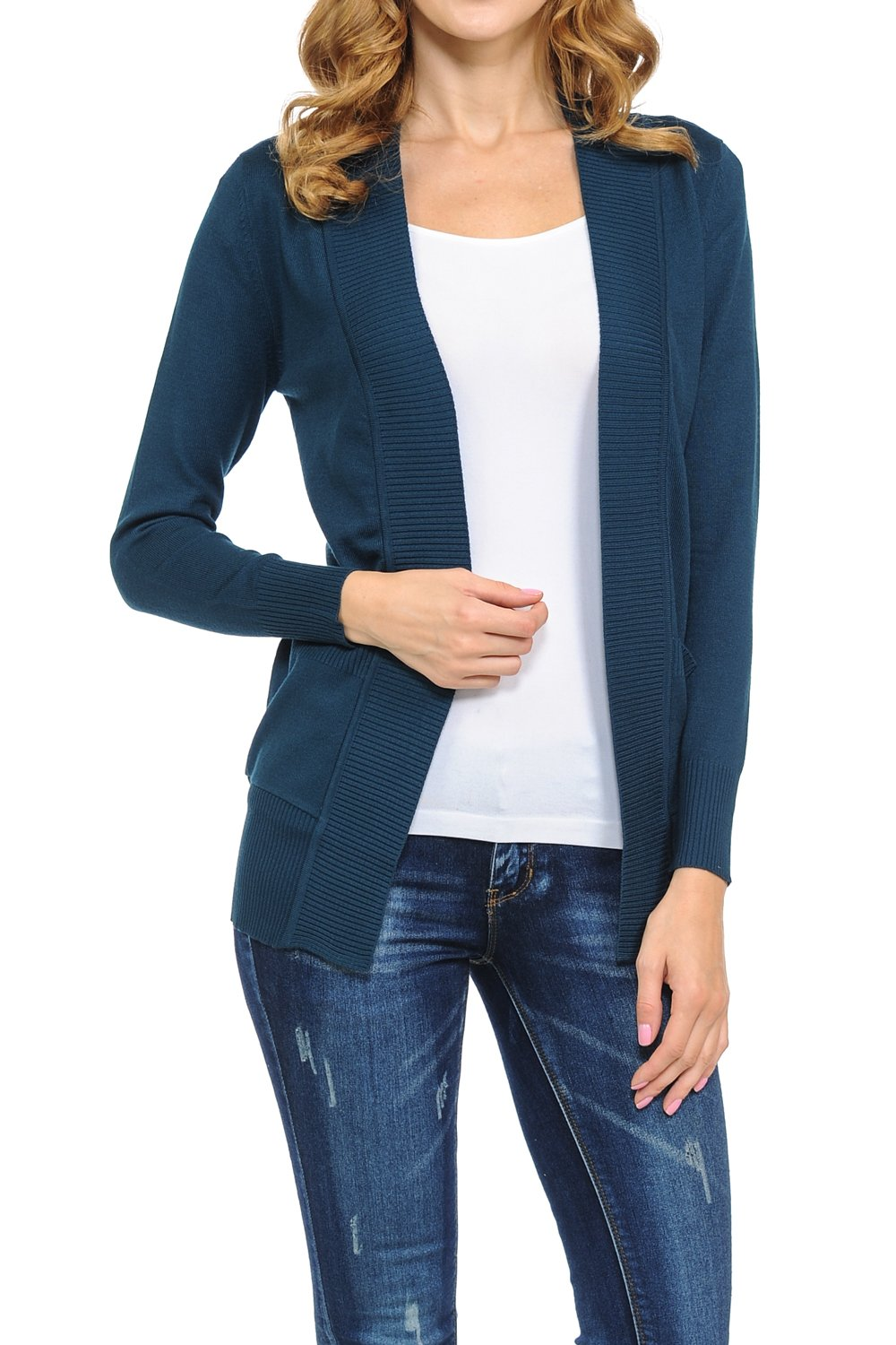 KB Apparel Women's Classic Casual Solid Open Front Sweater Knit Cardigan Deep Teal 2XL