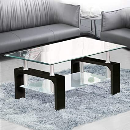 Sidetable Wit Met Glas.Tukailai Rectangle Clear Glass Coffee Table Modern Side Table With Lower Shelf Chrome And Mdf Support Living Room Guest Reception Room Table Black