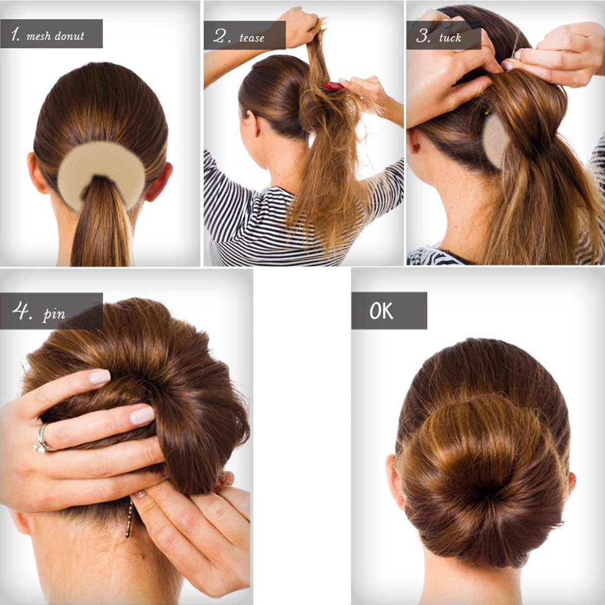 QY 3PCS Hair Mesh Chignon Donut To Make Hair Bun Best Age Reducing Solution, Small Medium And Large Size, Light Beige Color Qualtiy Yes