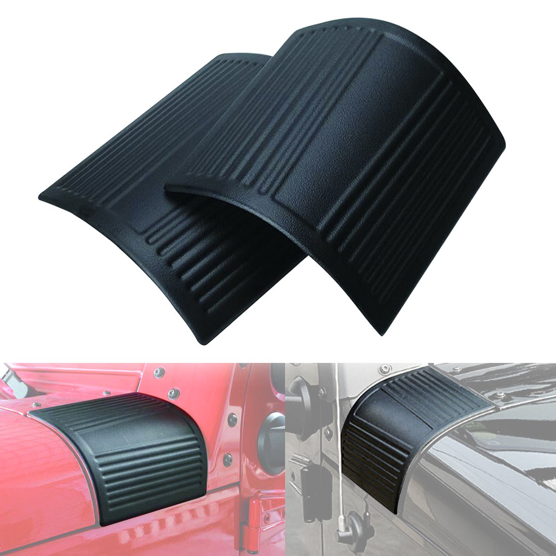 ICarszone ICARS Black Cowl Body Armor Cowling for 2007-2018 Jeep Wrangler JK JKU Unlimited Rubicon Sahara Accessories Pair CarsHome