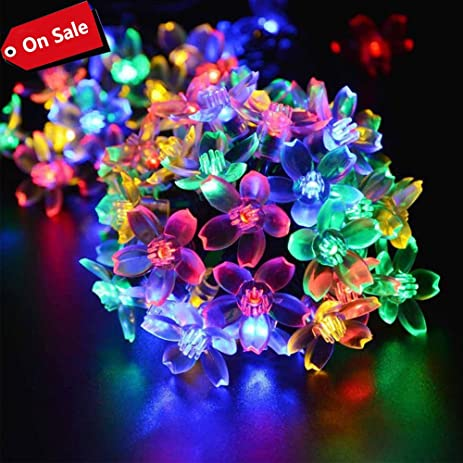 Solar String Lights, Teslau0027s Outdoor Solar Powered LED Fairy Flower String  Lights With 8 Lighting