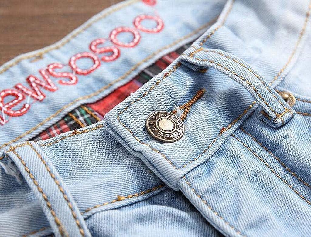 MOUTEN Mens Slim Casual Straight Leg Distressed Holes Mid Waist Denim Jeans Pants