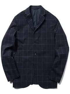 Windowpane Stretch Cotton Jacket 51-16-0234-565: Navy