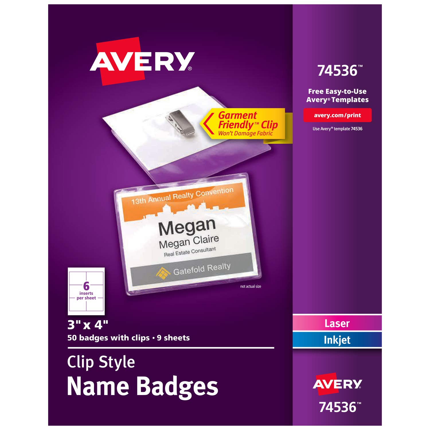 Avery Clip Name Badges, Print or Write, 3'' x 4'', 50 Inserts & Badge Holders with Clips (74536), White by AVERY