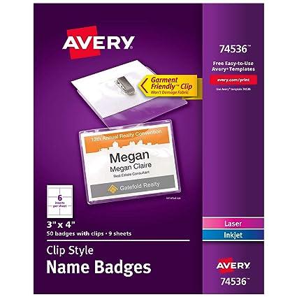 amazon com avery clip name badges print or write 3 x 4 50