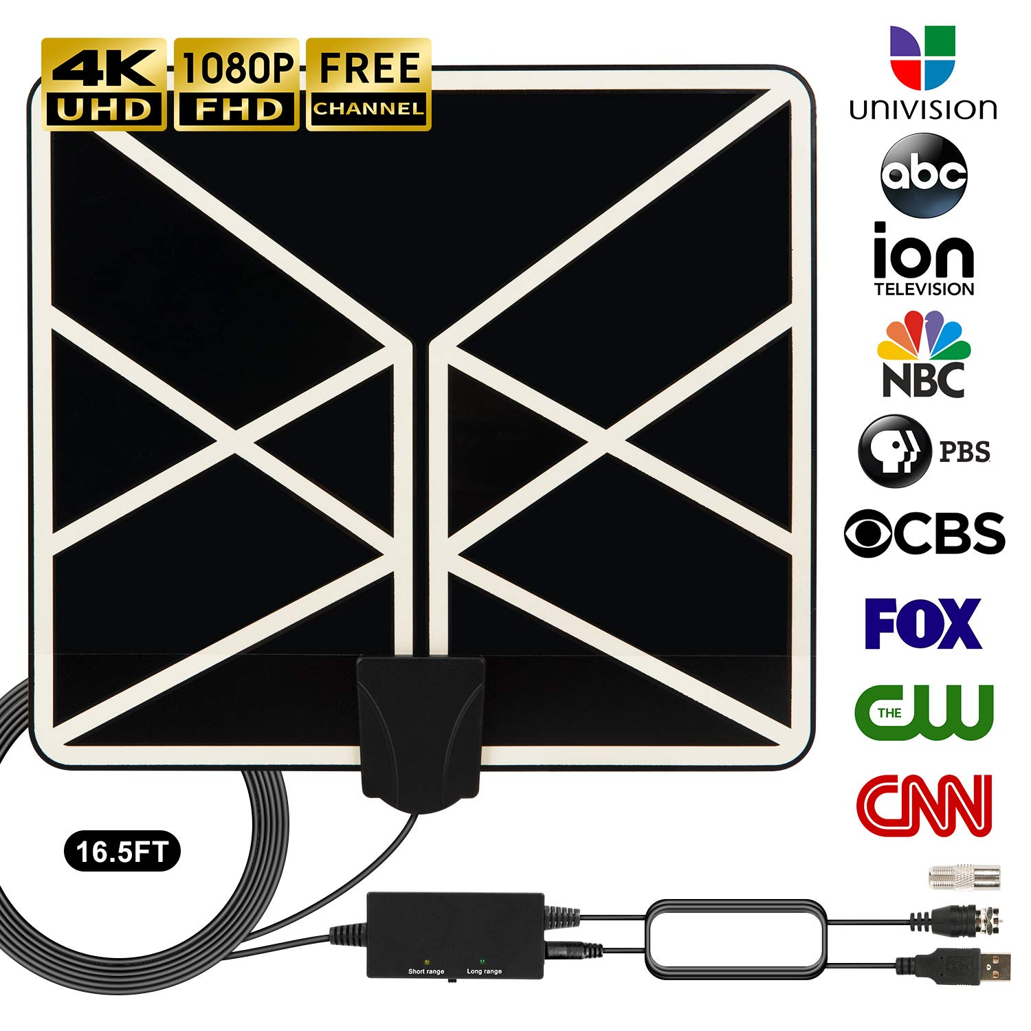 HDTV Antenna 4K 1080p, 2019 New Indoor Amplified Digital TV Antenna 120 Miles Range with Amplifier Signal Booster Free Local Channels Support All Television with 18 FT Coaxial Cable (Black)