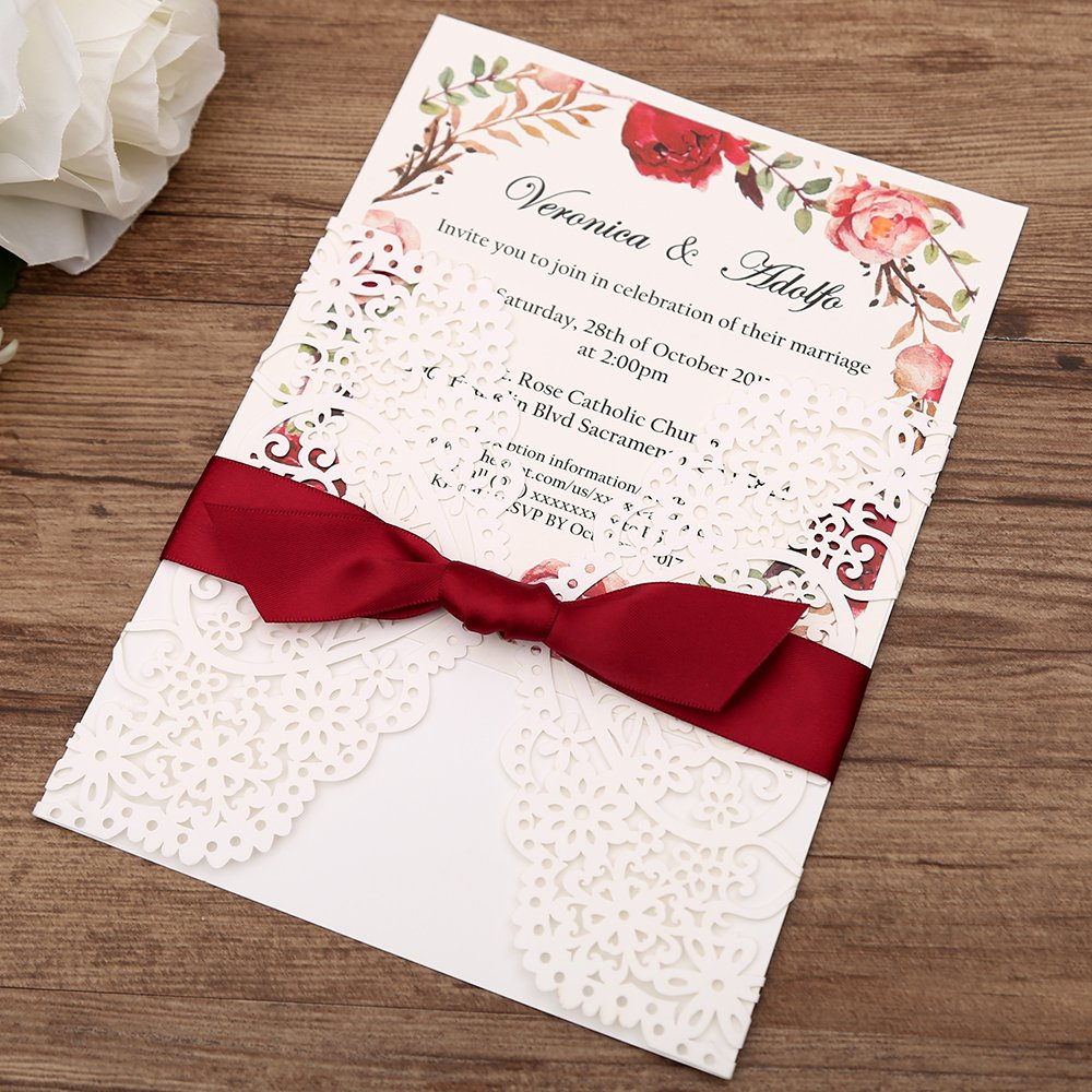 Amazon.com: Dream Bulit Square Wedding Invitations Cards Fall Bridal ...