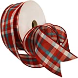 Morex Ribbon 7380.60/50-042 Color Chic Plaid French Wired Ribbon, 2-1/2-Inch by 50-Yard Spool, Red, White and Aqua