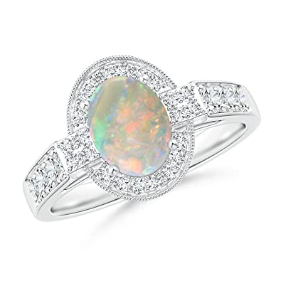 Angara Oval Shaped Opal Bypass Ring in Rose Gold - October Birthstone Ring vcTvl