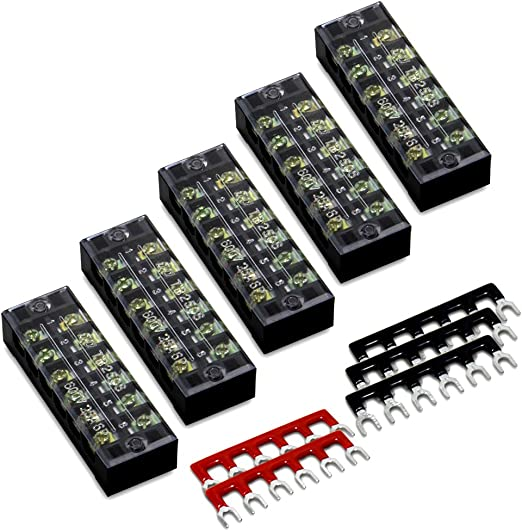 6 PIECE ELECTRICAL CABLE LEAD 12 WAY TERMINAL CONNECTOR BLOCK STRIP 3A 5A 10A