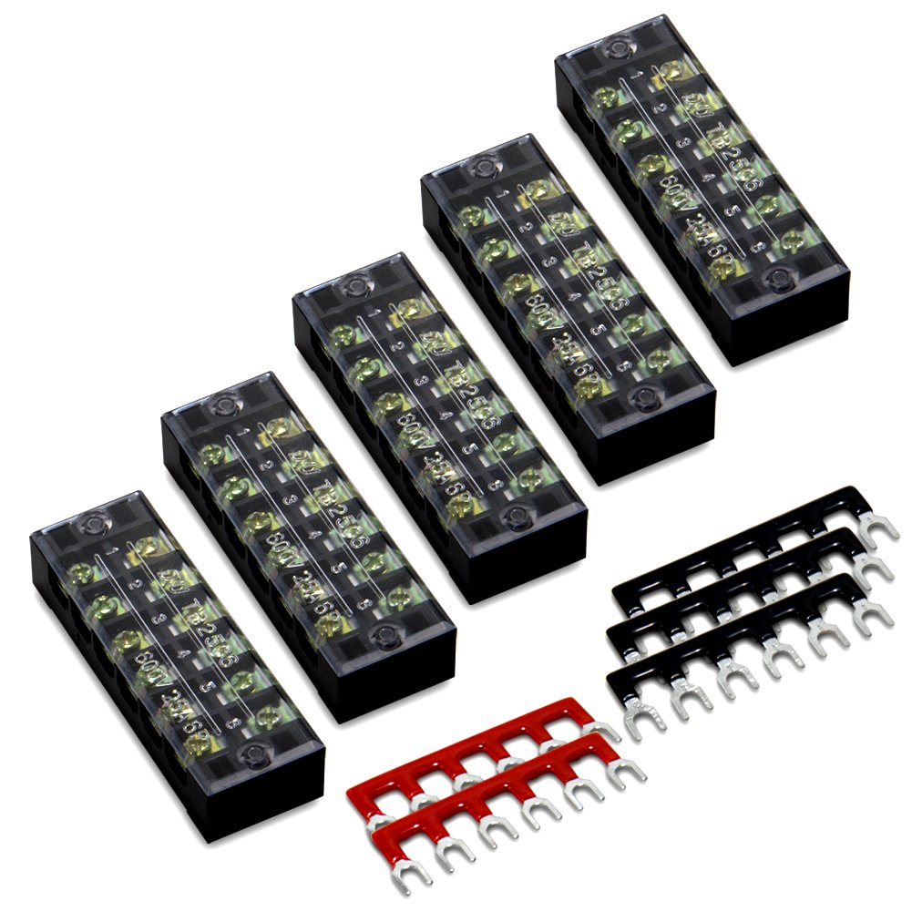 10pcs(5 Sets) 6 Positions Dual Row 600V 25A Screw Terminal Strip Blocks with Cover + 400V 25A 6 Positions Pre-Insulated Terminal Barrier Strip (Black/Red) by MILAPEAK by MILAPEAK (Image #1)