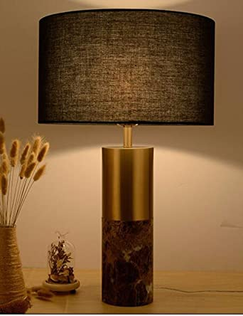 CJSHV-Simple moderna lampara de mesa de mármol negro, cobre ...