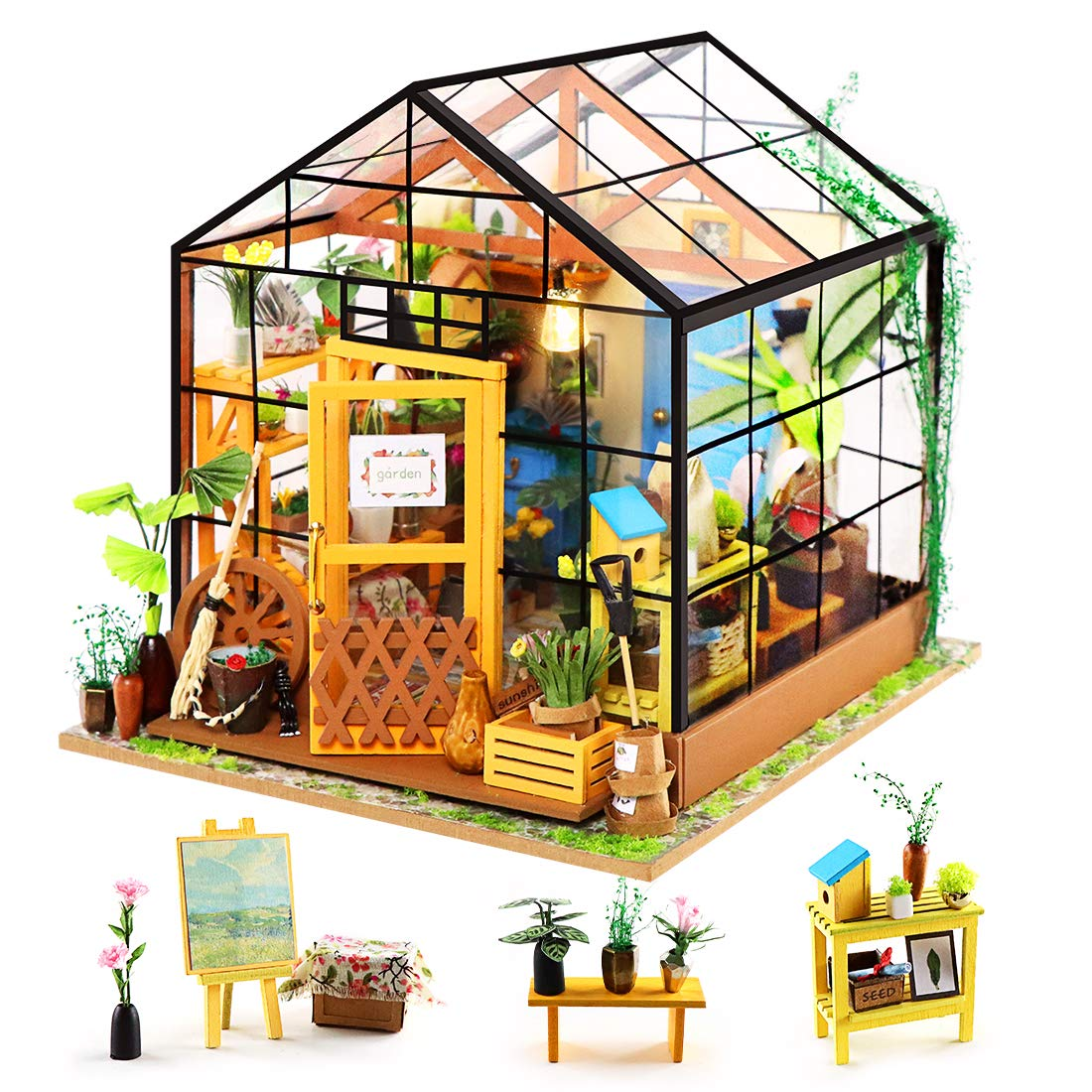 ZNCMRR DIY Miniature Dollhouse Wooden Set - 3D Wooden Puzzle Garden House with LED, Green Crafts, Mini Furniture Kit, Creative Birthday Gift for Women and Girls (Garden House)