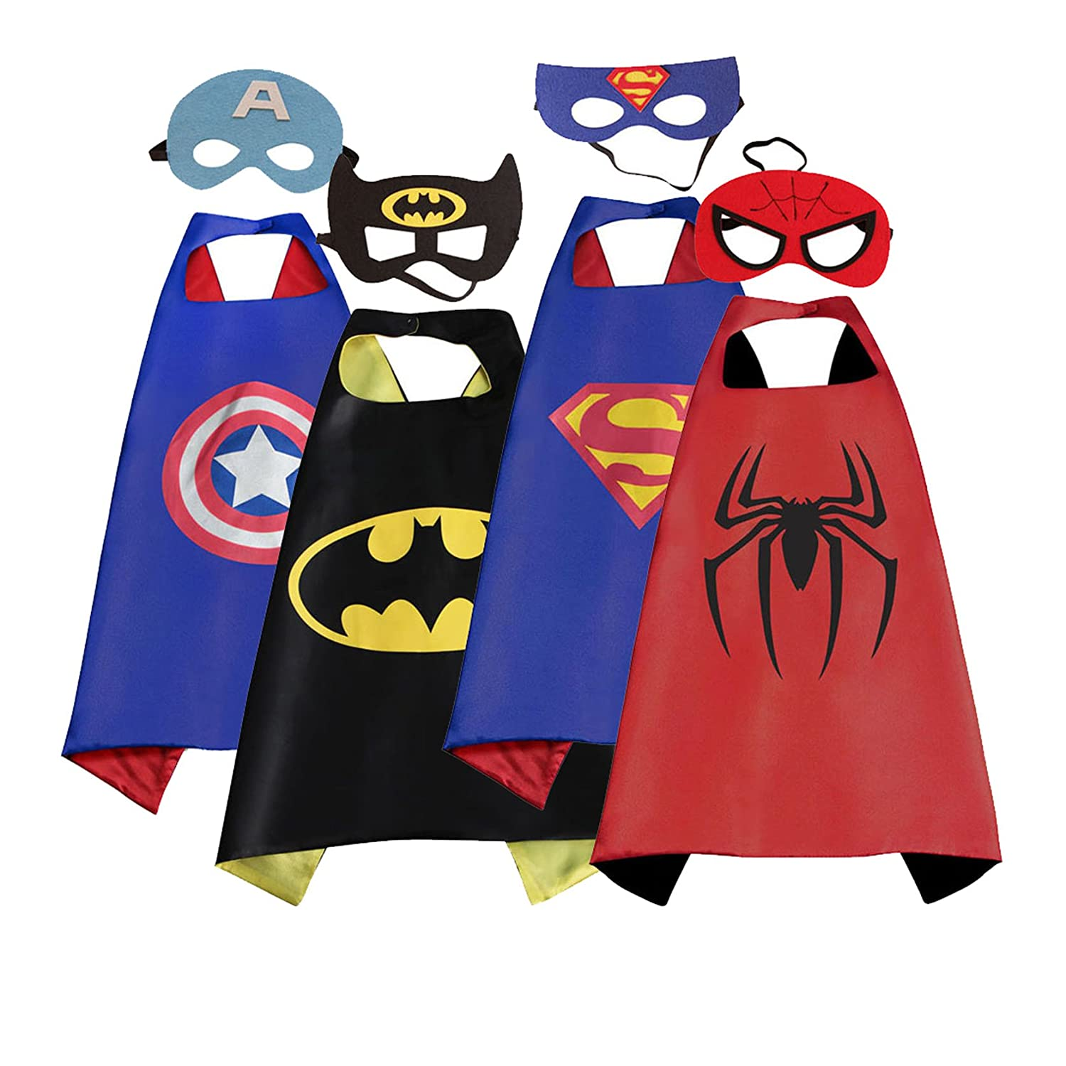 Mizzuco Cartoon Dress up Costumes Satin Capes with Felt Masks for Boys 4pcs