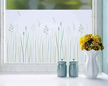 Becry Vinyl Static Adhesive Decorative Floral Window Film Frosted Window  Film Privacy Window Film Decorative Window Film Static Cling Window