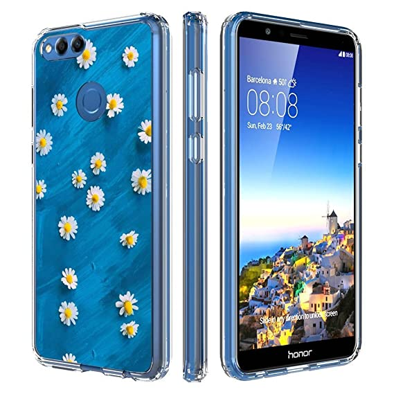 cheap for discount 6f052 777e1 Amazon.com: Designed White Daisy Huawei Honor 7X Case Clear ...