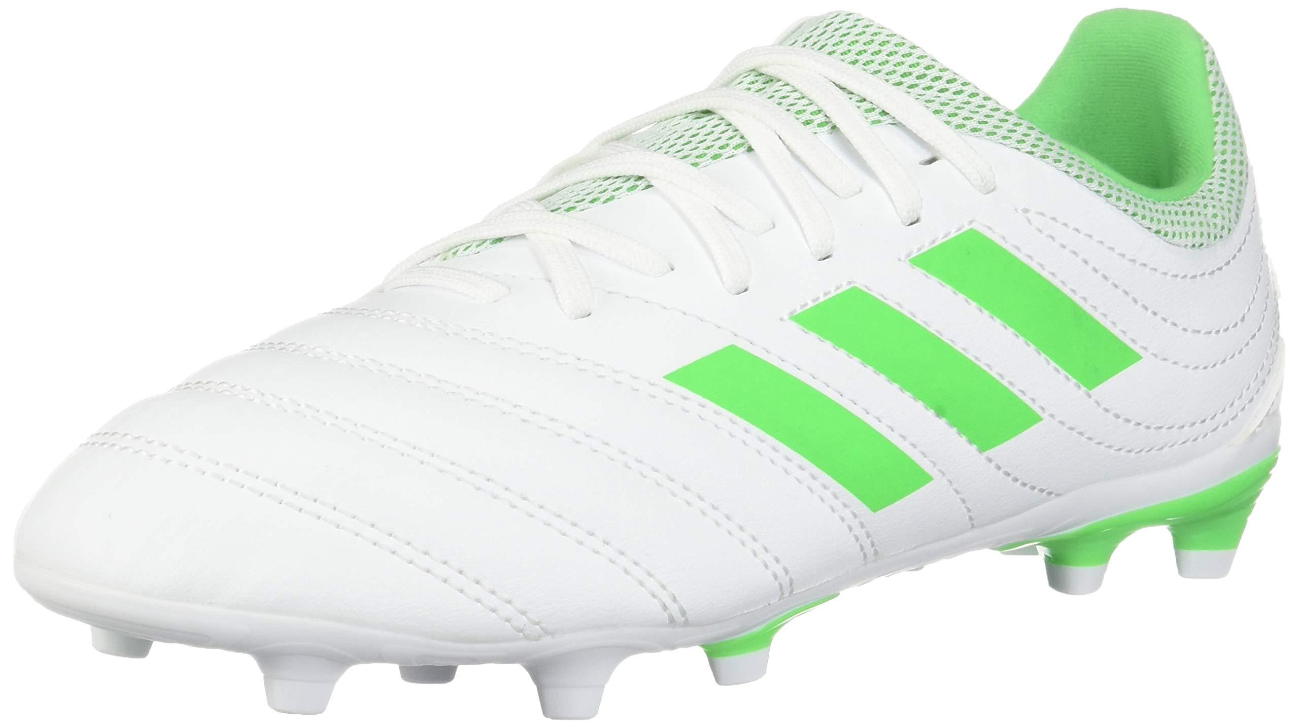 adidas Unisex Copa 19.3 Firm Ground Soccer Shoe, Solar Lime/White, 12.5K M US Little Kid
