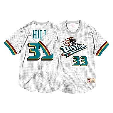 Mitchell   Ness NBA Detroit Pistons Grant Hill  33 Mesh Crewneck Jersey ( White fcd8b77d5ea6